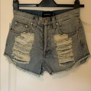 Minkpink jean shorts distressed Button fly XS